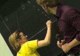 Nadia Olivo alla lavagna, I bambini in Congresso – Progetto Music Science Children Lab